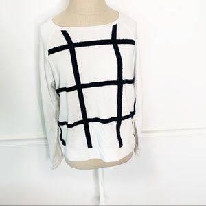 Lou & Grey White and Black Striped Sweatshirt